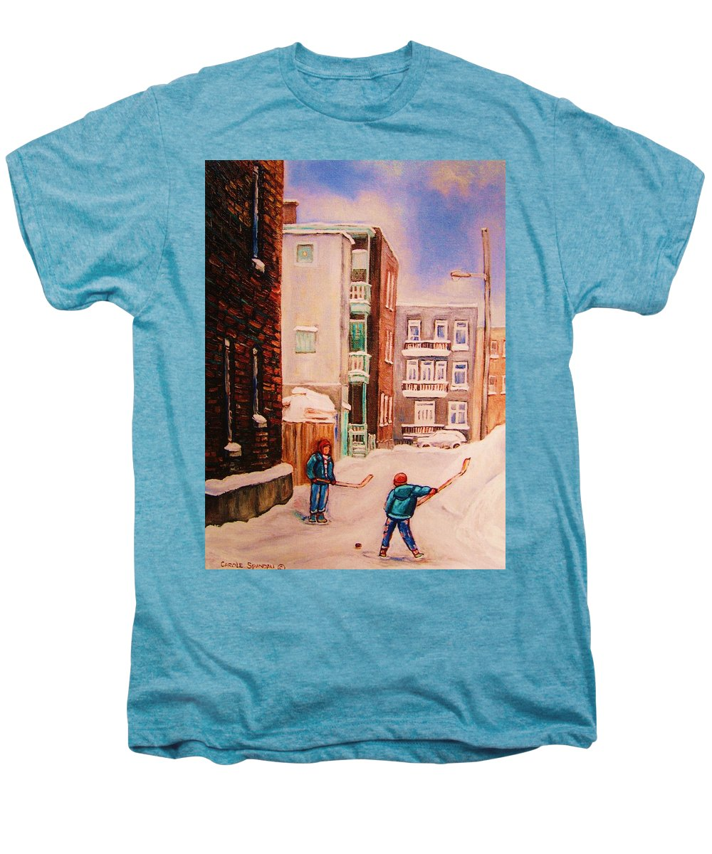 Hockey Men's Premium T-Shirt featuring the painting Hockey Practice by Carole Spandau