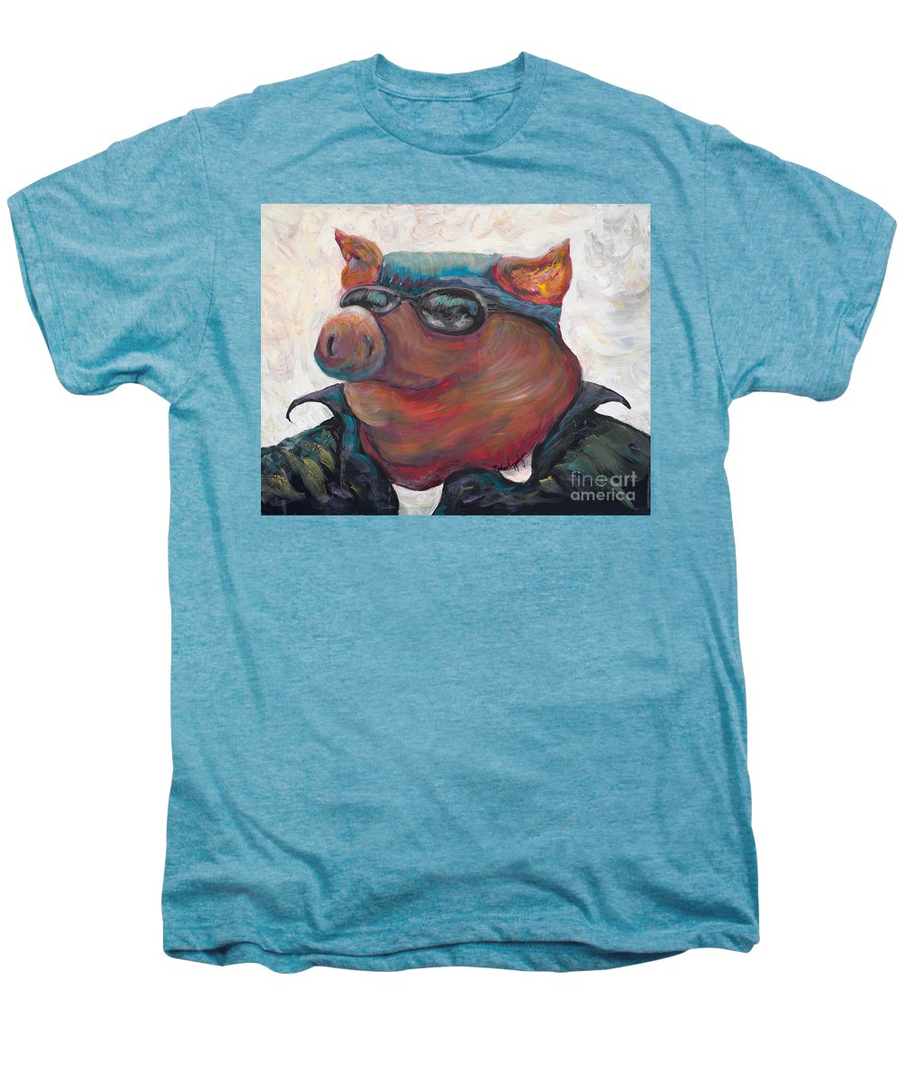 Hog Men's Premium T-Shirt featuring the painting Hogley Davidson by Nadine Rippelmeyer