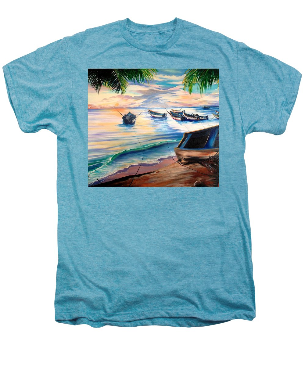 Ocean Painting Caribbean Painting Seascape Painting Beach Painting Fishing Boats Painting Sunset Painting Blue Palm Trees Fisherman Trinidad And Tobago Painting Tropical Painting Men's Premium T-Shirt featuring the painting Home From The Sea by Karin Dawn Kelshall- Best