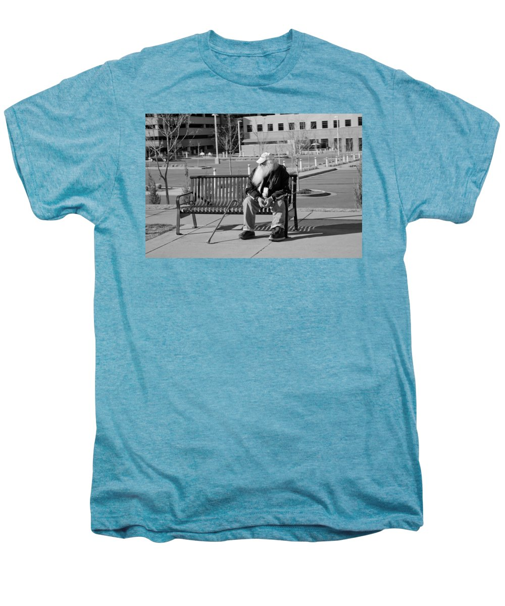 Portrait Men's Premium T-Shirt featuring the photograph Homeless Man by Angus Hooper Iii