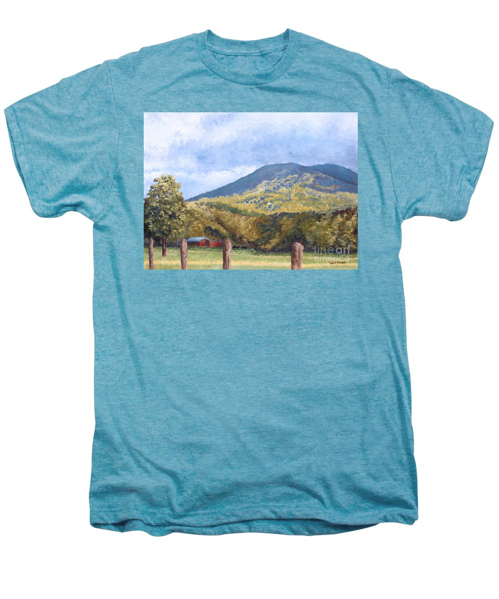 Landscape Men's Premium T-Shirt featuring the painting Horse Barn At Cades Cove by Todd A Blanchard