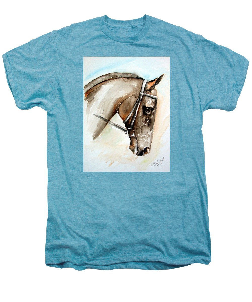 Horse Men's Premium T-Shirt featuring the painting Horse Head by Leyla Munteanu