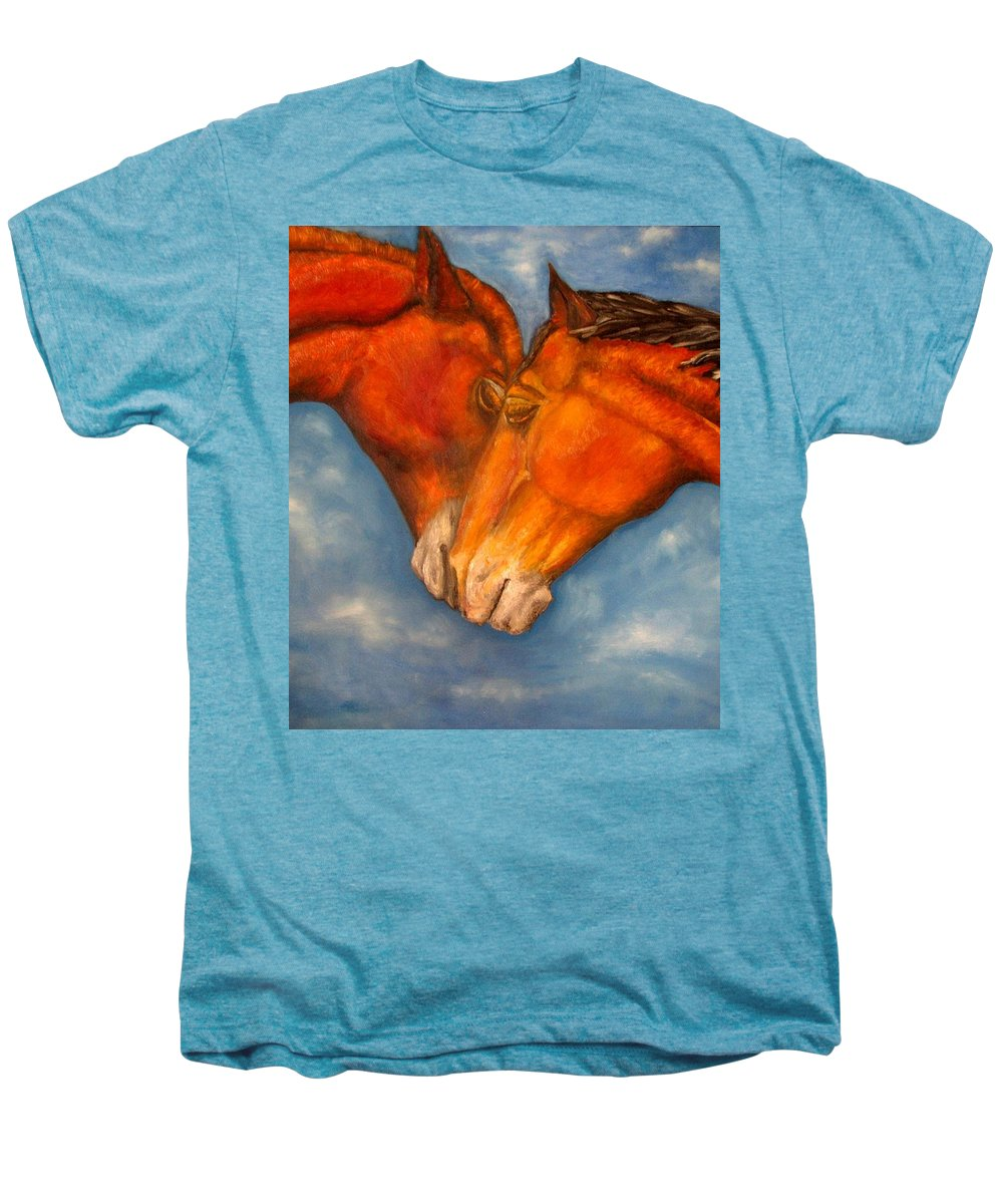 Horses Men's Premium T-Shirt featuring the painting Horses In Love.oil Painting by Natalja Picugina