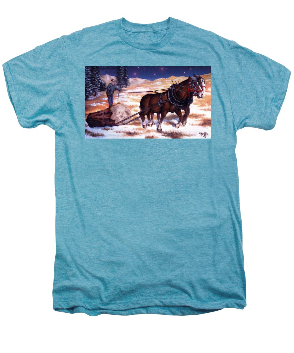Horse Men's Premium T-Shirt featuring the painting Horses Pulling Log by Curtiss Shaffer