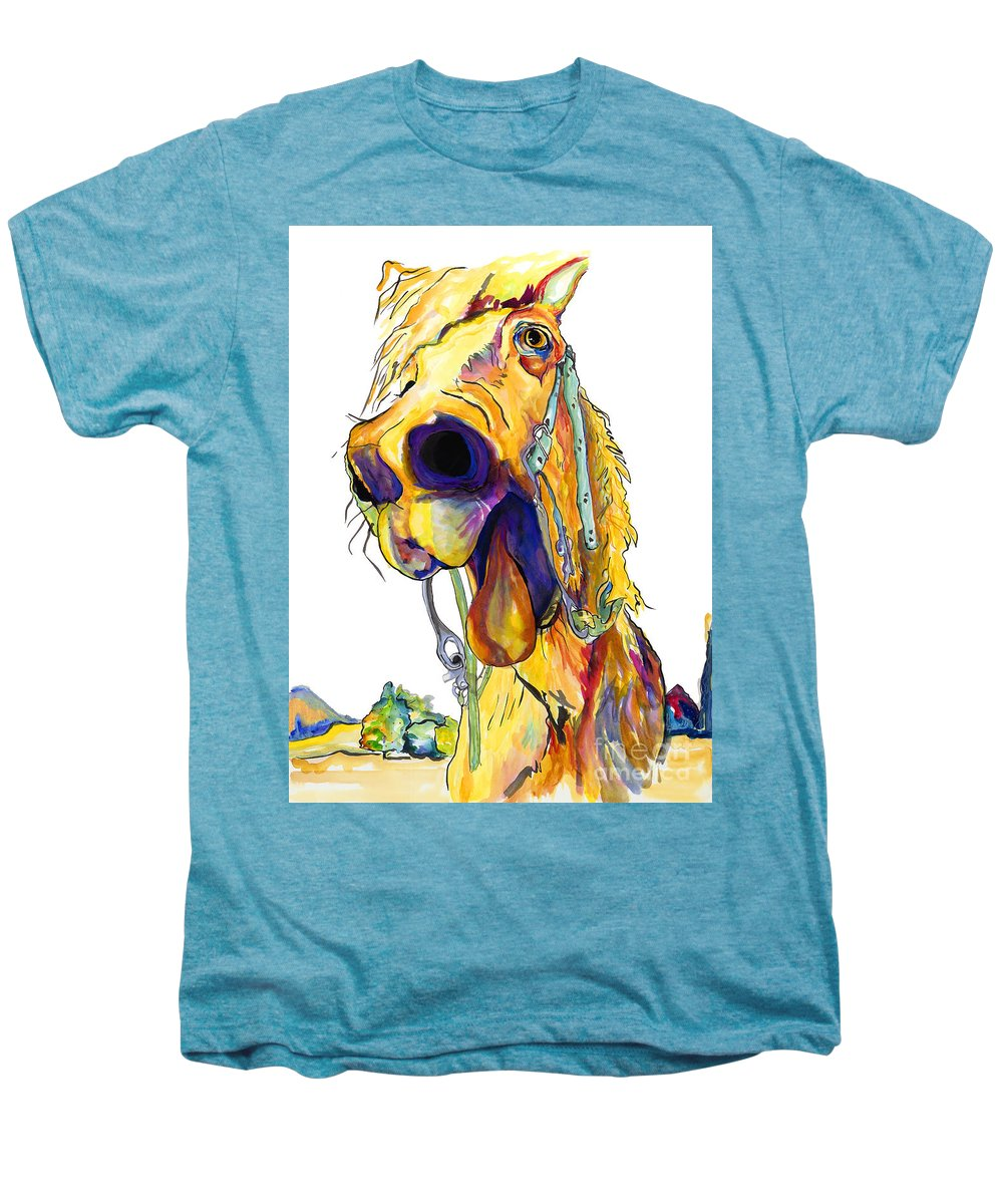 Animal Painting Men's Premium T-Shirt featuring the painting Horsing Around by Pat Saunders-White