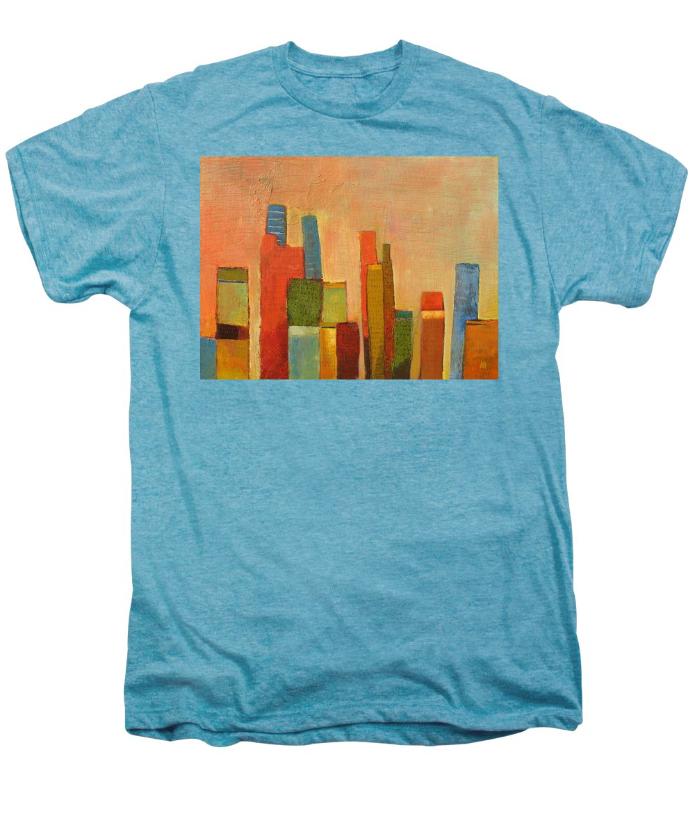 Abstract Cityscape Men's Premium T-Shirt featuring the painting Hot Manhattan by Habib Ayat