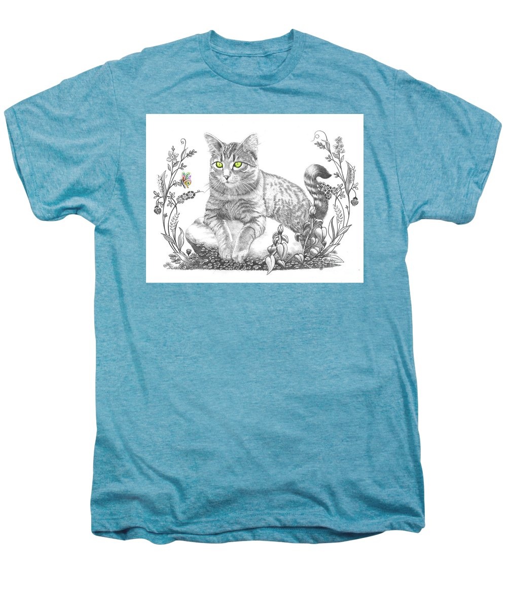 Cat Men's Premium T-Shirt featuring the drawing House Cat by Murphy Elliott