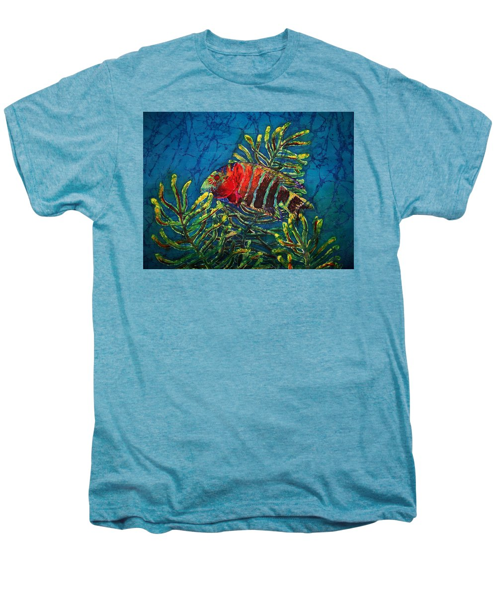 Fish Men's Premium T-Shirt featuring the painting Hovering - Red Banded Wrasse by Sue Duda