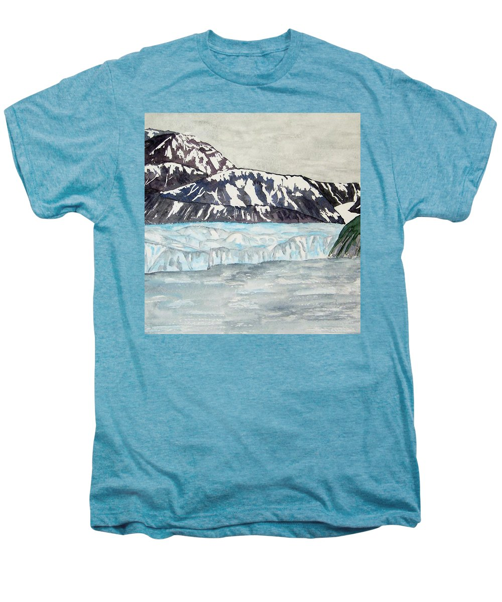 Glacier Men's Premium T-Shirt featuring the painting Hubbard Glacier In July by Larry Wright