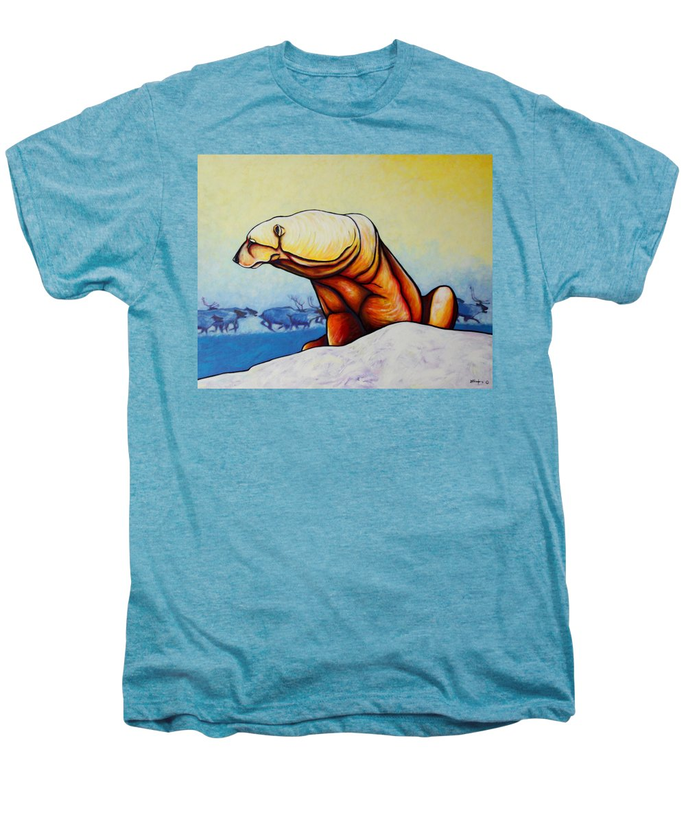 Wildlife Men's Premium T-Shirt featuring the painting Hunger Burns - Polar Bear And Caribou by Joe Triano