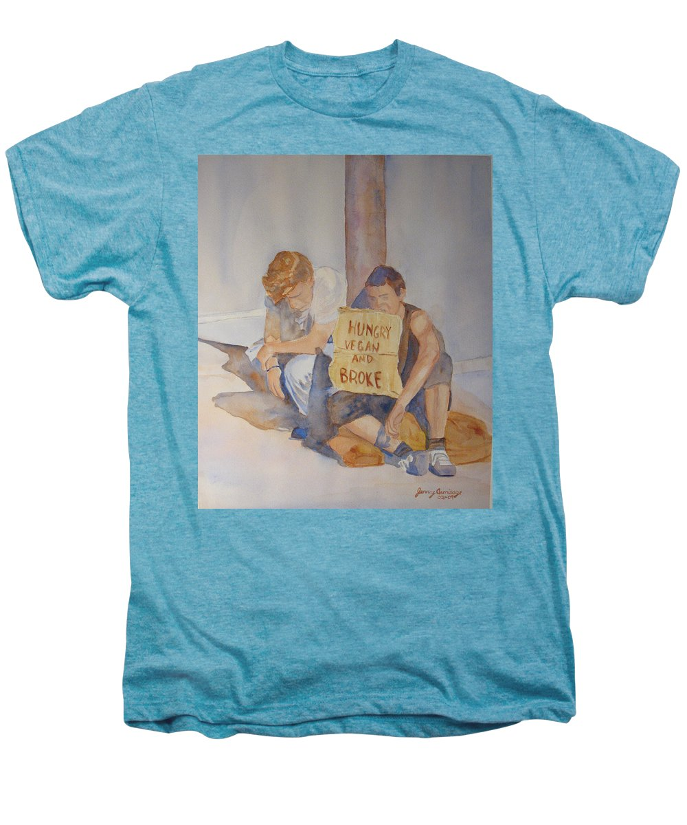 Humorous Men's Premium T-Shirt featuring the painting Hungry Vegan And Broke by Jenny Armitage