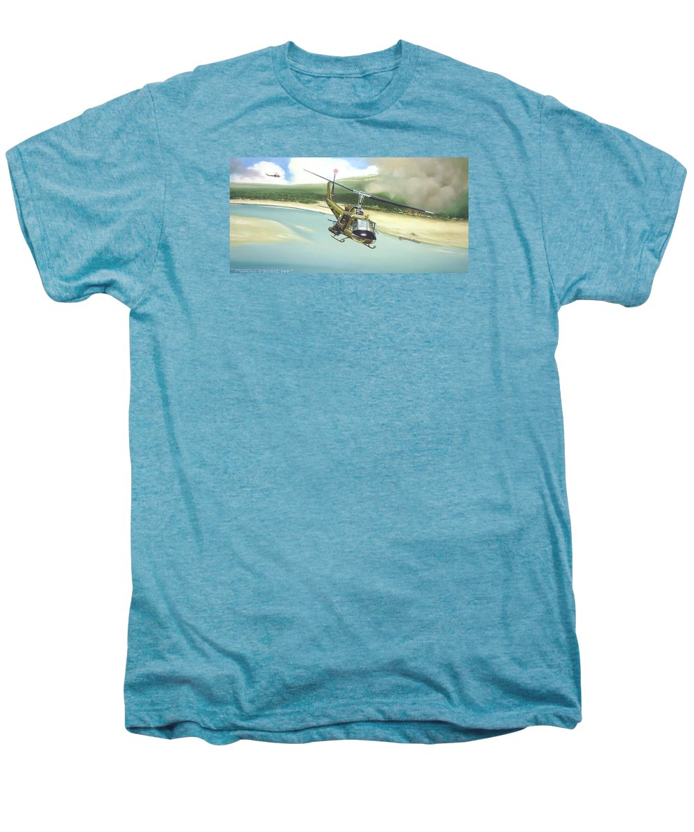 Military Men's Premium T-Shirt featuring the painting Hunter Hueys by Marc Stewart