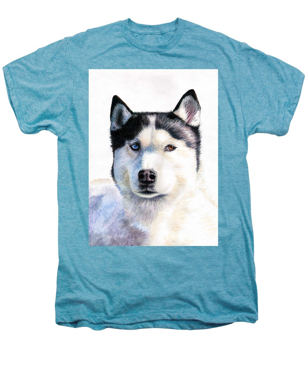 Dog Men's Premium T-Shirt featuring the painting Husky Blue by Nicole Zeug
