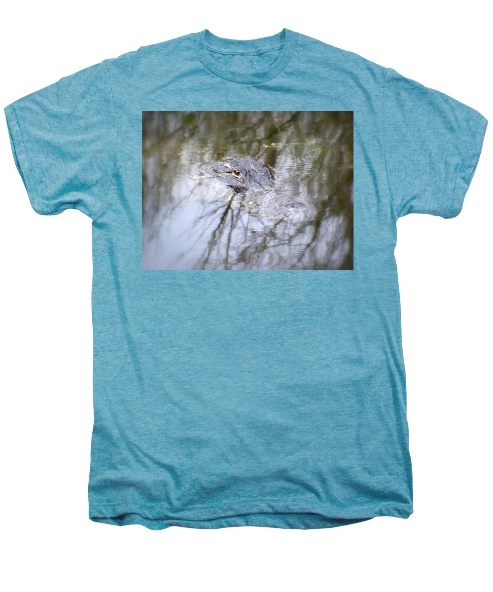 Alligator Men's Premium T-Shirt featuring the photograph I Am Watching by Ed Smith