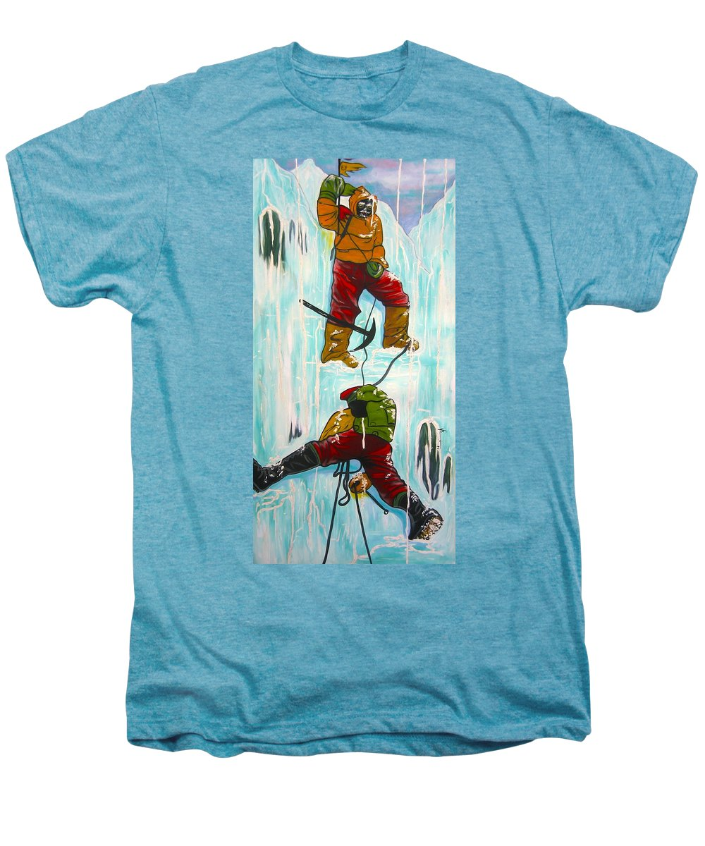 Abstract Sports Men's Premium T-Shirt featuring the painting Ice Climbers by V Boge