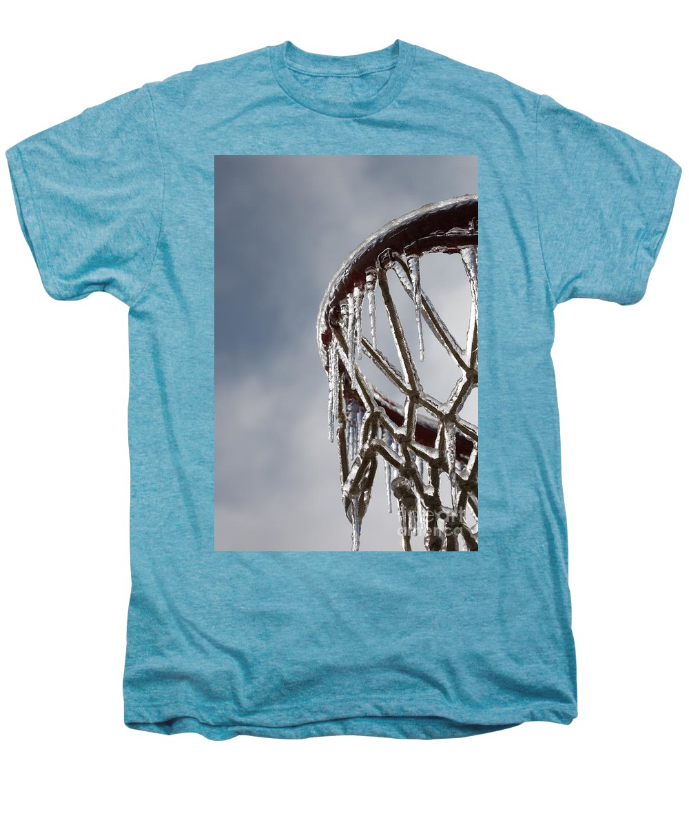 Basketball Men's Premium T-Shirt featuring the photograph Icy Hoops by Nadine Rippelmeyer