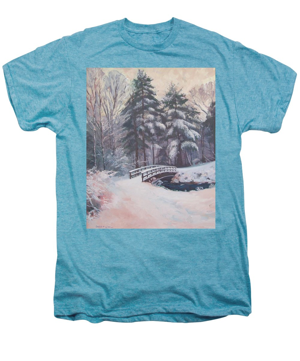 Landscape Men's Premium T-Shirt featuring the painting Icy Stream by Dianne Panarelli Miller