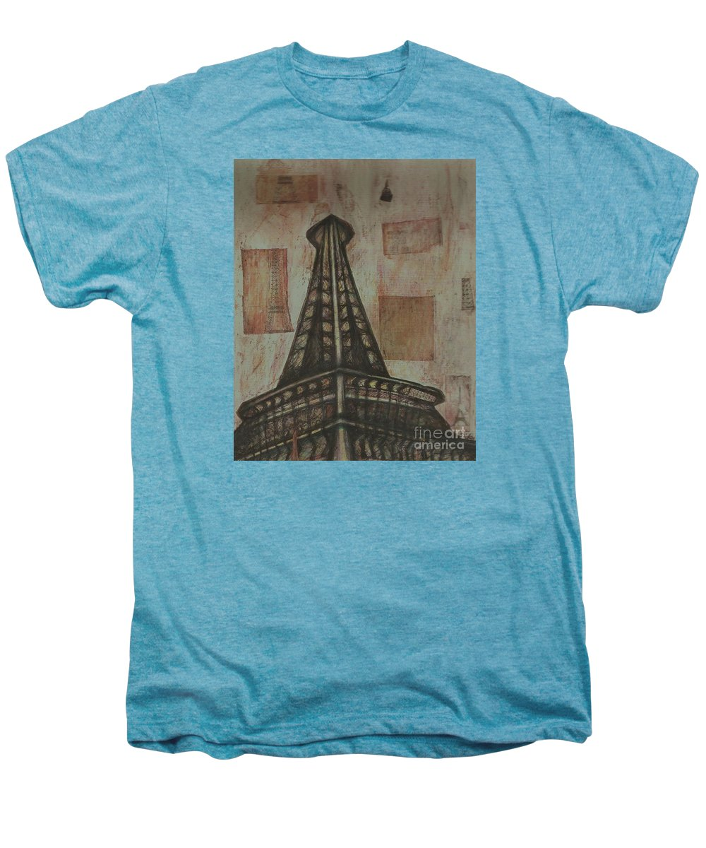 Structures Men's Premium T-Shirt featuring the painting Iffel Tower by Sidra Myers