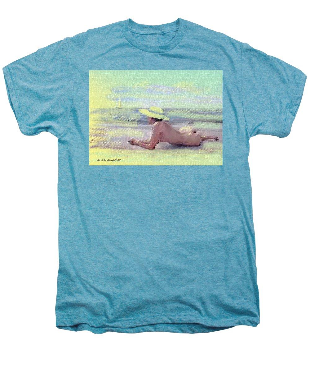 Original Art Men's Premium T-Shirt featuring the pastel Imagine by Gina De Gorna