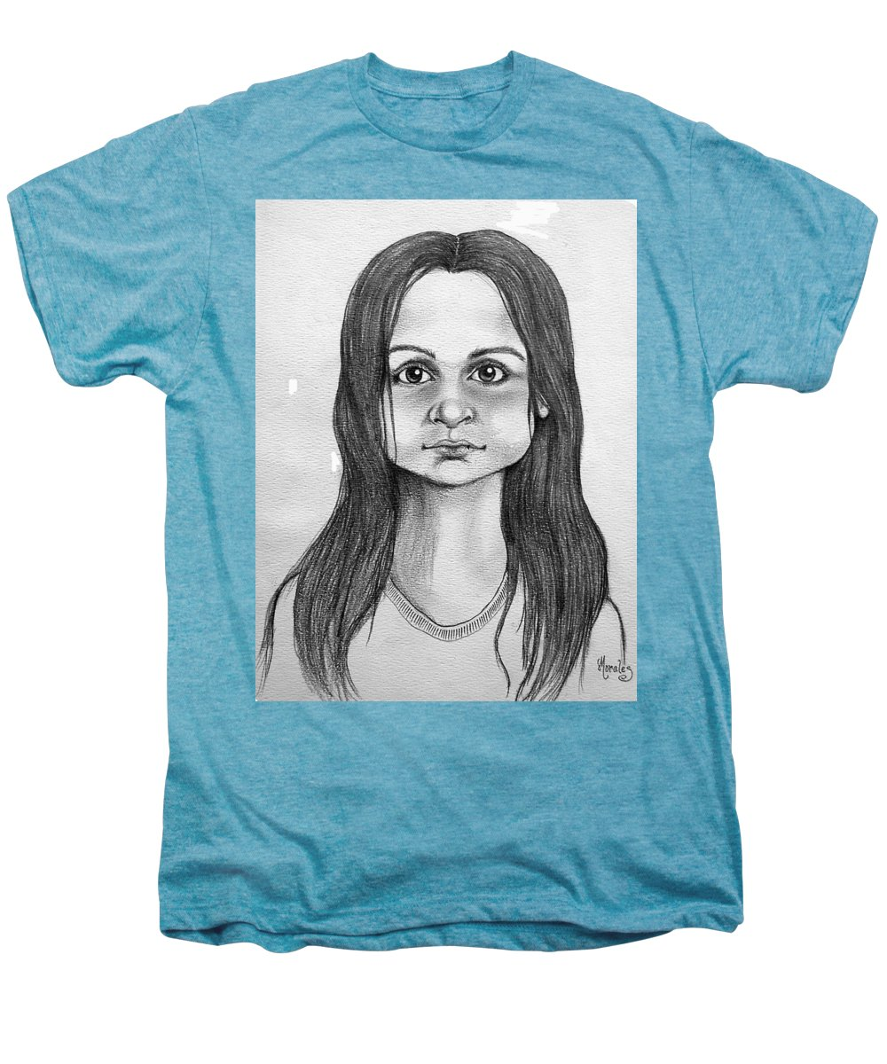 Portrait Men's Premium T-Shirt featuring the drawing Immigrant Girl by Marco Morales