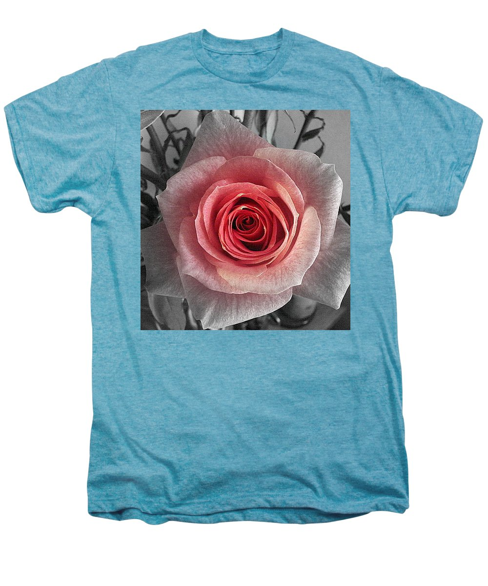 Rose Red Blackandwhite Men's Premium T-Shirt featuring the photograph In The Center by Luciana Seymour