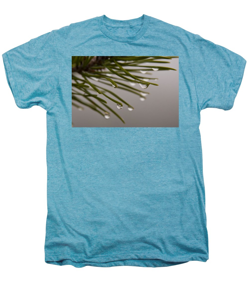 Pine Tree Needle Drop Droplet Reflection Rain Green Fog Foggy Nature Outdoors Hike Men's Premium T-Shirt featuring the photograph In The Rain by Andrei Shliakhau