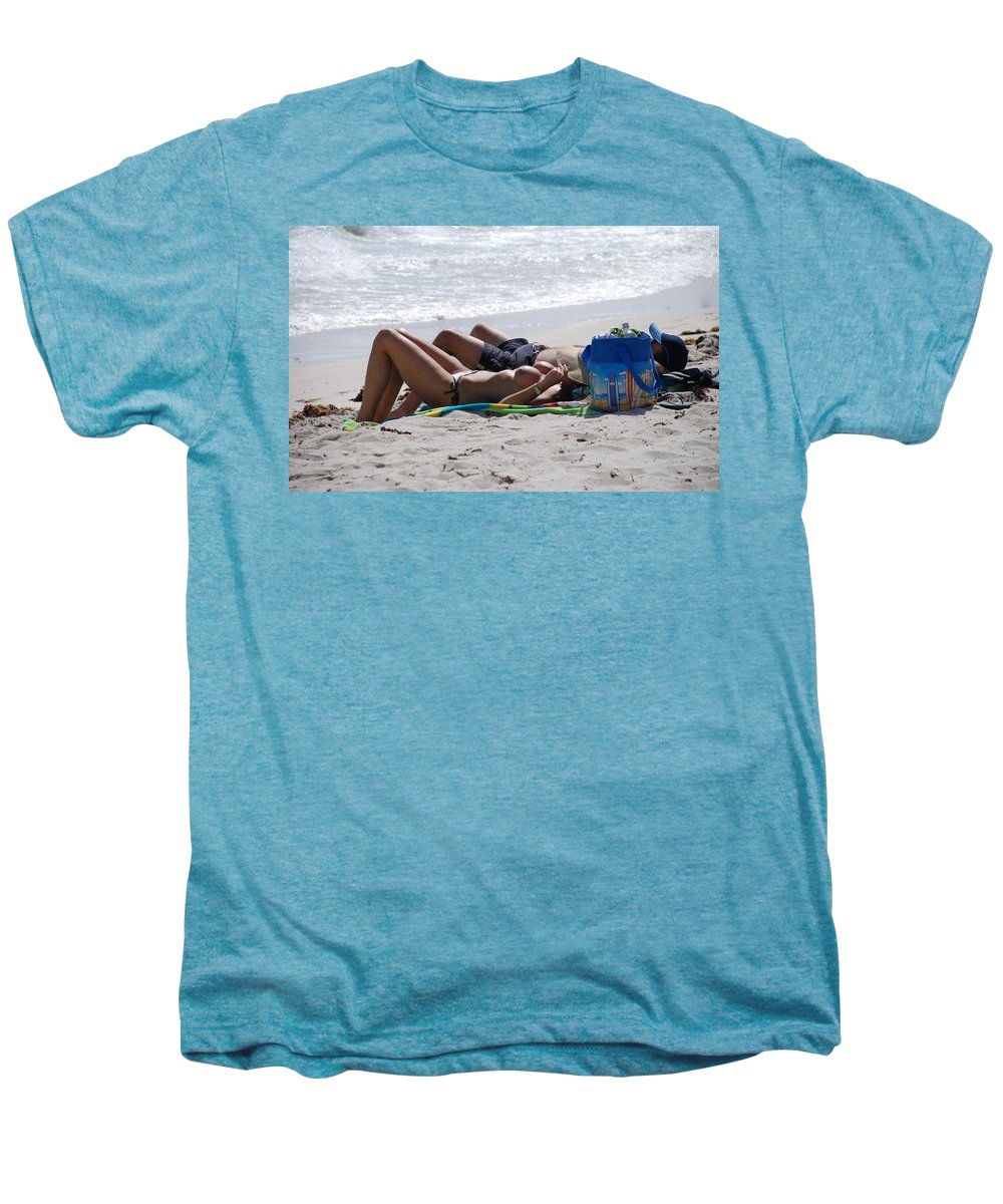 Nude Men's Premium T-Shirt featuring the photograph In The Sand At Paradise Beach by Rob Hans