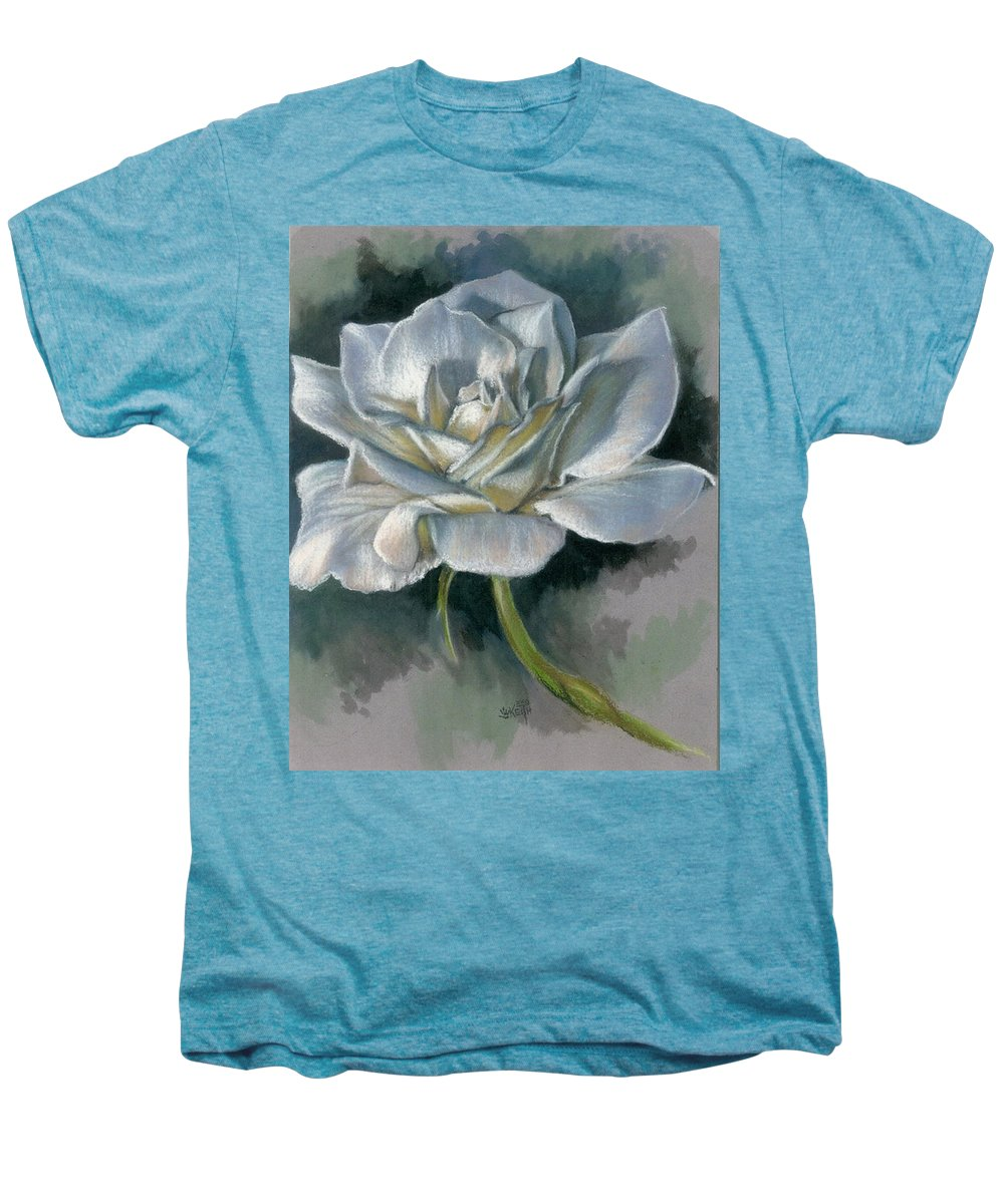 Rose Men's Premium T-Shirt featuring the mixed media Innocence by Barbara Keith
