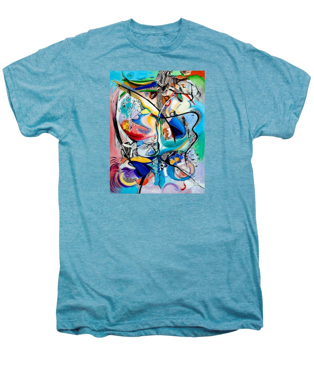 Abstract Men's Premium T-Shirt featuring the painting Intimate Glimpses - Journey Of Life by Kerryn Madsen-Pietsch