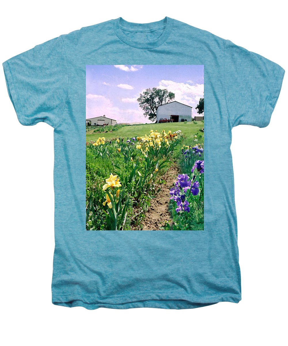 Landscape Painting Men's Premium T-Shirt featuring the photograph Iris Farm by Steve Karol