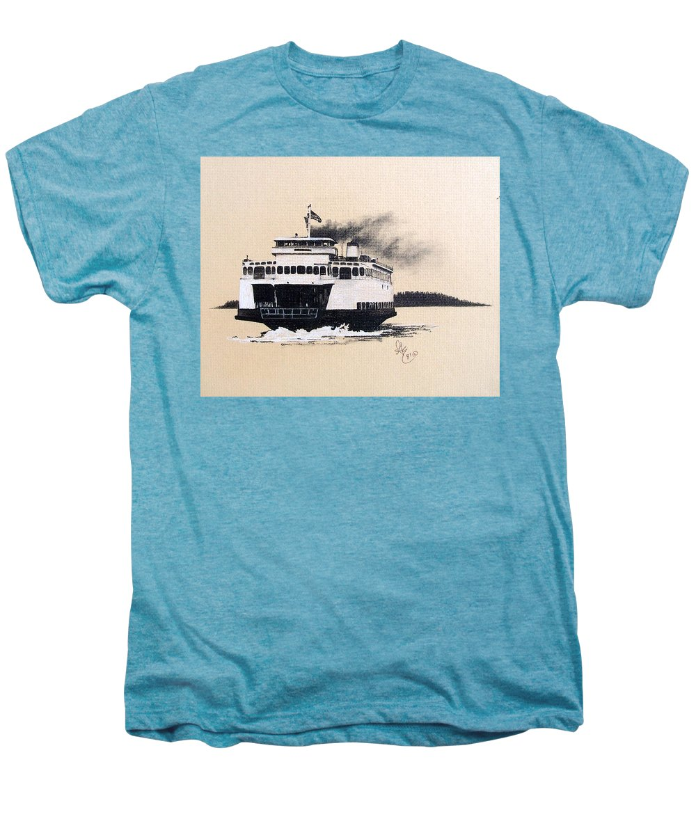 Ferry Men's Premium T-Shirt featuring the pastel Issaquah by Gale Cochran-Smith