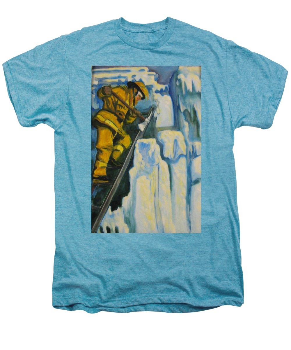 Firefighters Men's Premium T-Shirt featuring the painting Its Not Over Till Its Over by John Malone