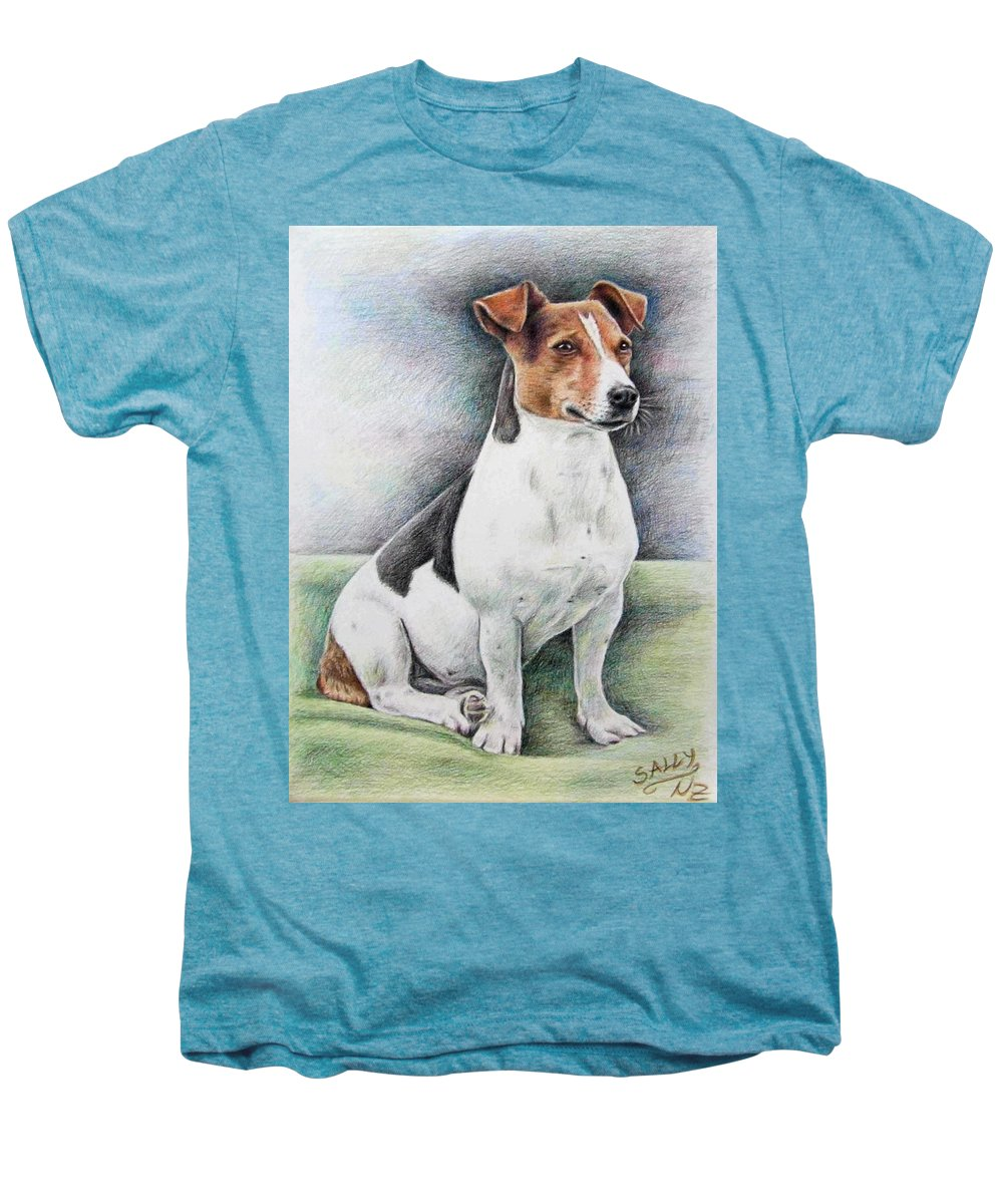 Dog Men's Premium T-Shirt featuring the drawing Jack Russell Terrier by Nicole Zeug