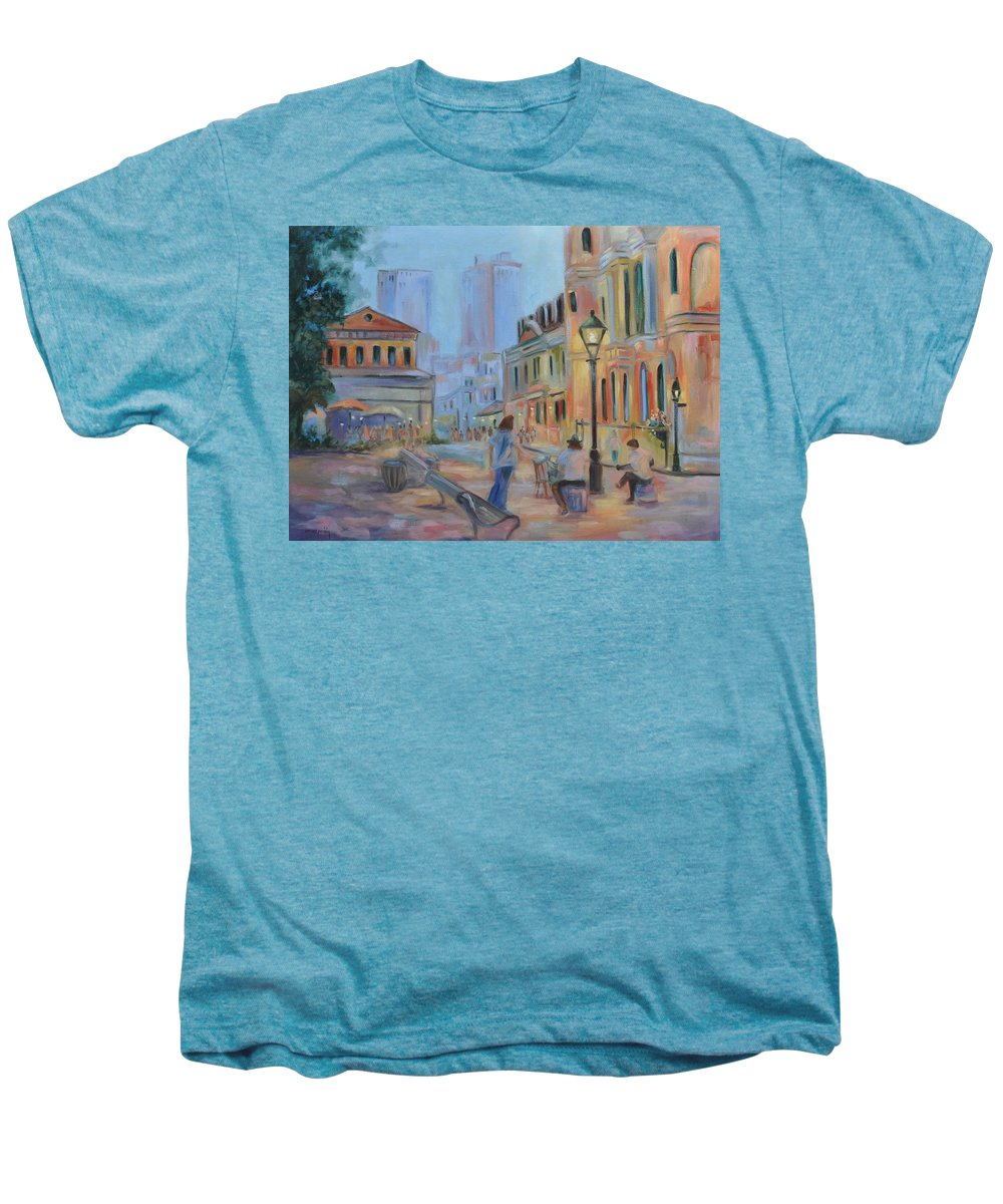 New Orleans Men's Premium T-Shirt featuring the painting Jackson Square Musicians by Ginger Concepcion