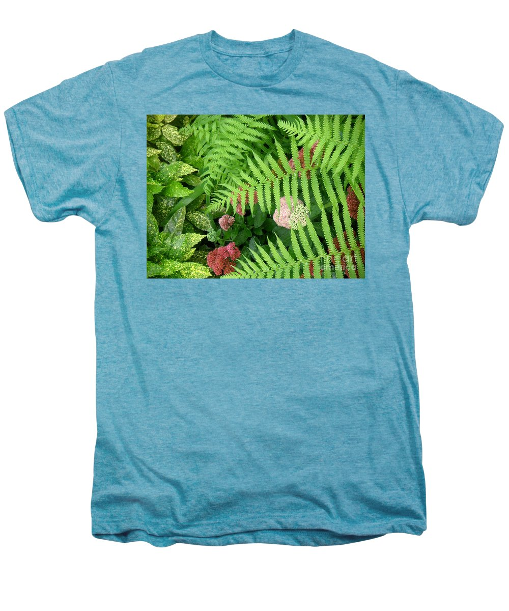 Nature Men's Premium T-Shirt featuring the photograph Jacqueline's Garden - Camaraderie Of Textures by Lucyna A M Green