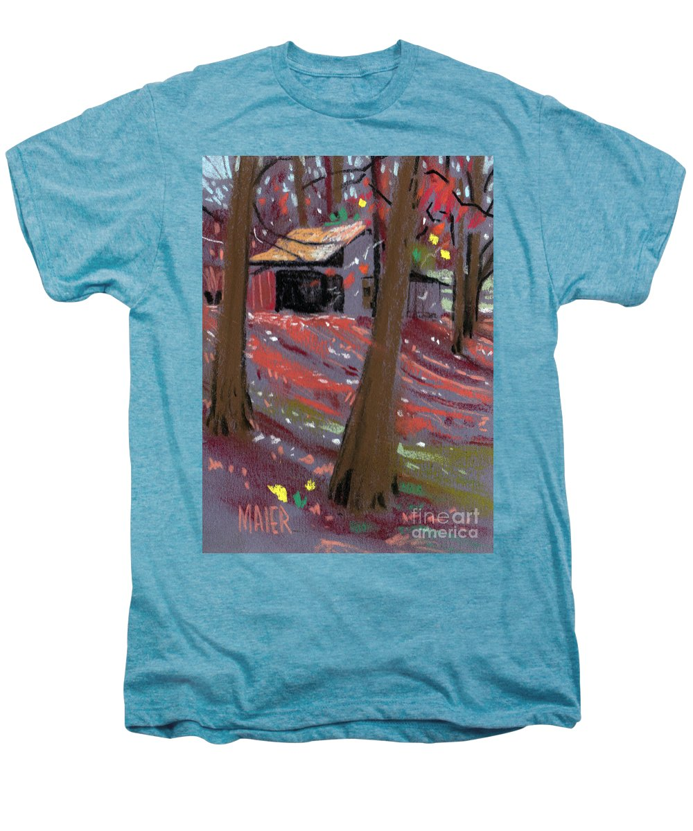 Barns Men's Premium T-Shirt featuring the drawing James's Barns 3 by Donald Maier