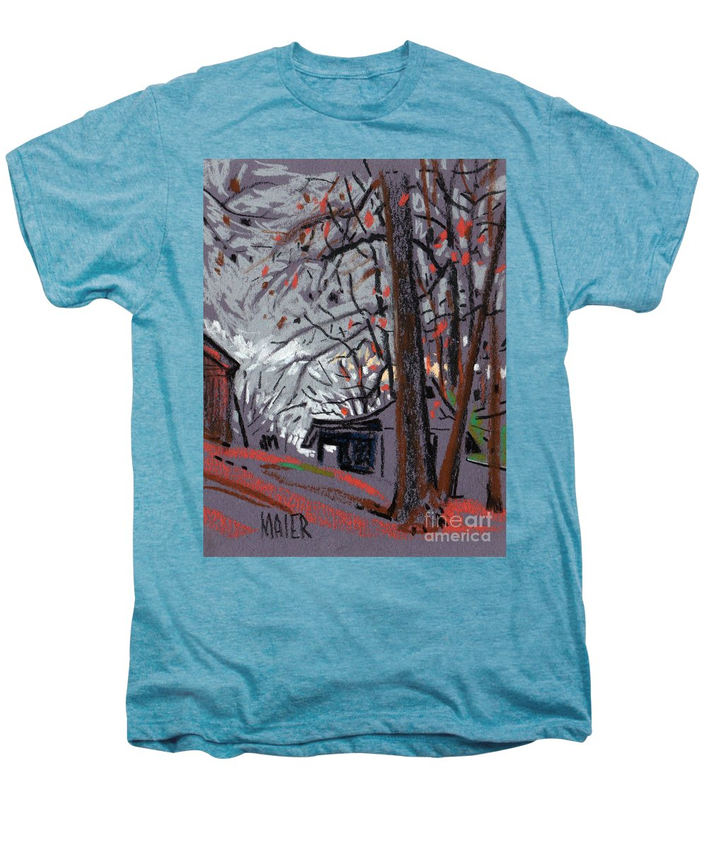 Barns Men's Premium T-Shirt featuring the drawing James's Barns 7 by Donald Maier
