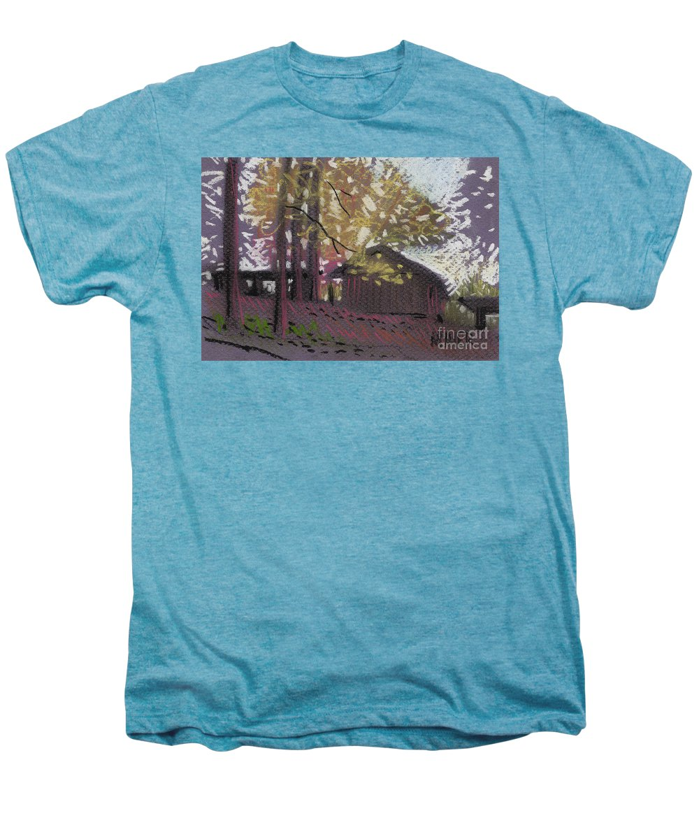 Pastel Men's Premium T-Shirt featuring the drawing James's Barns 9 by Donald Maier