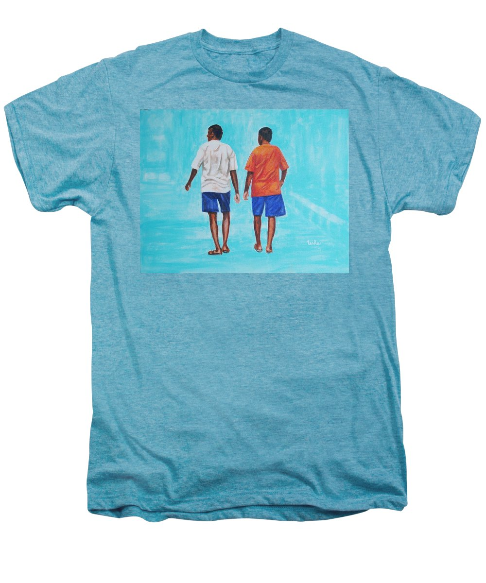 Men's Premium T-Shirt featuring the painting Jay Walkers by Usha Shantharam