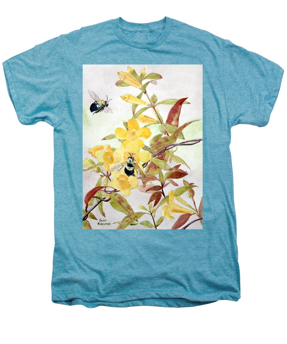 Jasmine Men's Premium T-Shirt featuring the painting Jessamine Bee Mine by Jean Blackmer