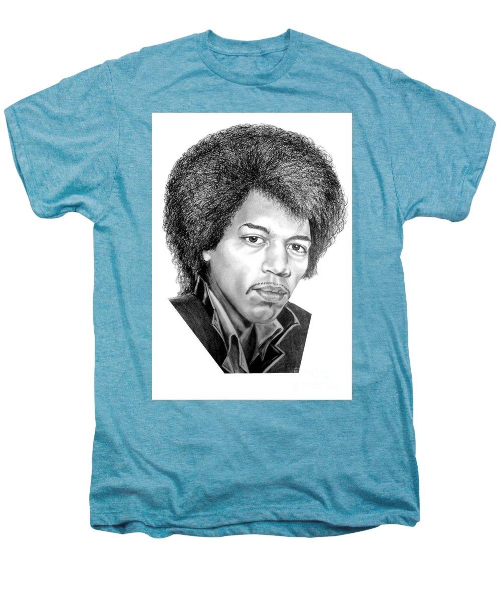 Jimmi Hendrix Men's Premium T-Shirt featuring the drawing Jimmi Hendrix By Murphy Art. Elliott by Murphy Elliott