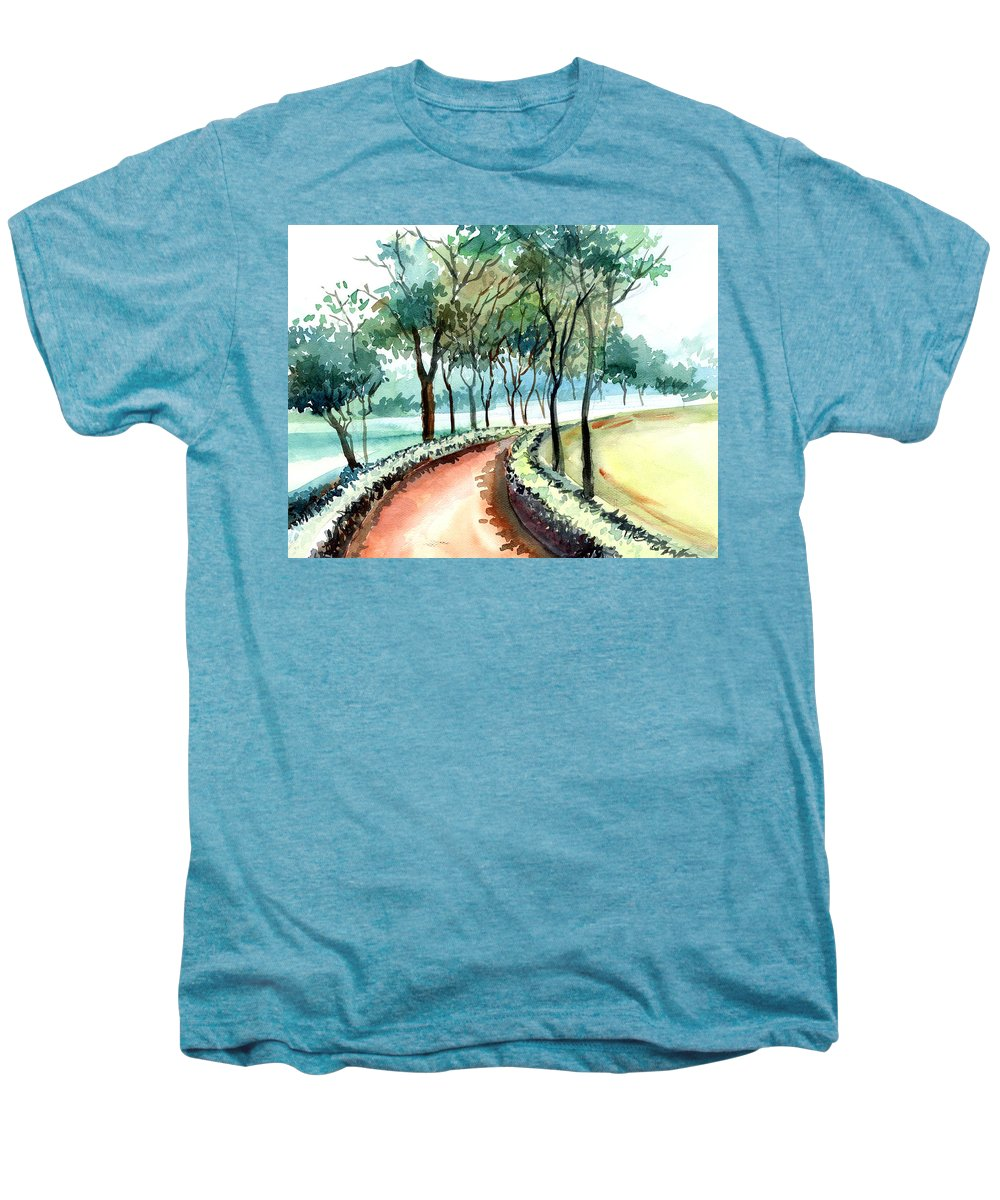 Landscape Men's Premium T-Shirt featuring the painting Jogging Track by Anil Nene
