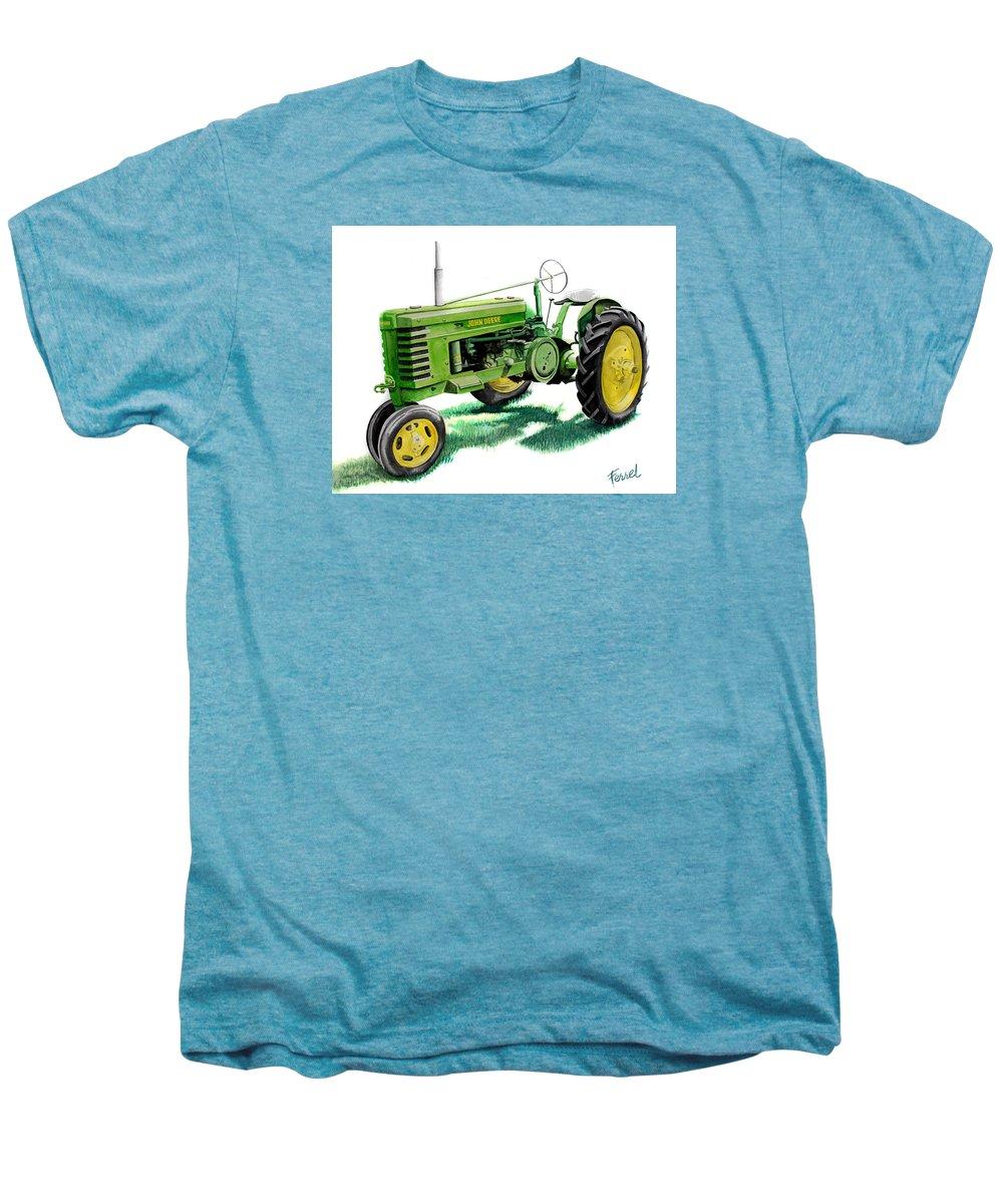 John Deere Tractor Men's Premium T-Shirt featuring the painting John Deere Tractor by Ferrel Cordle