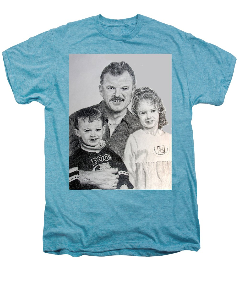 Portrait Men's Premium T-Shirt featuring the drawing John Megan And Joey by Stan Hamilton