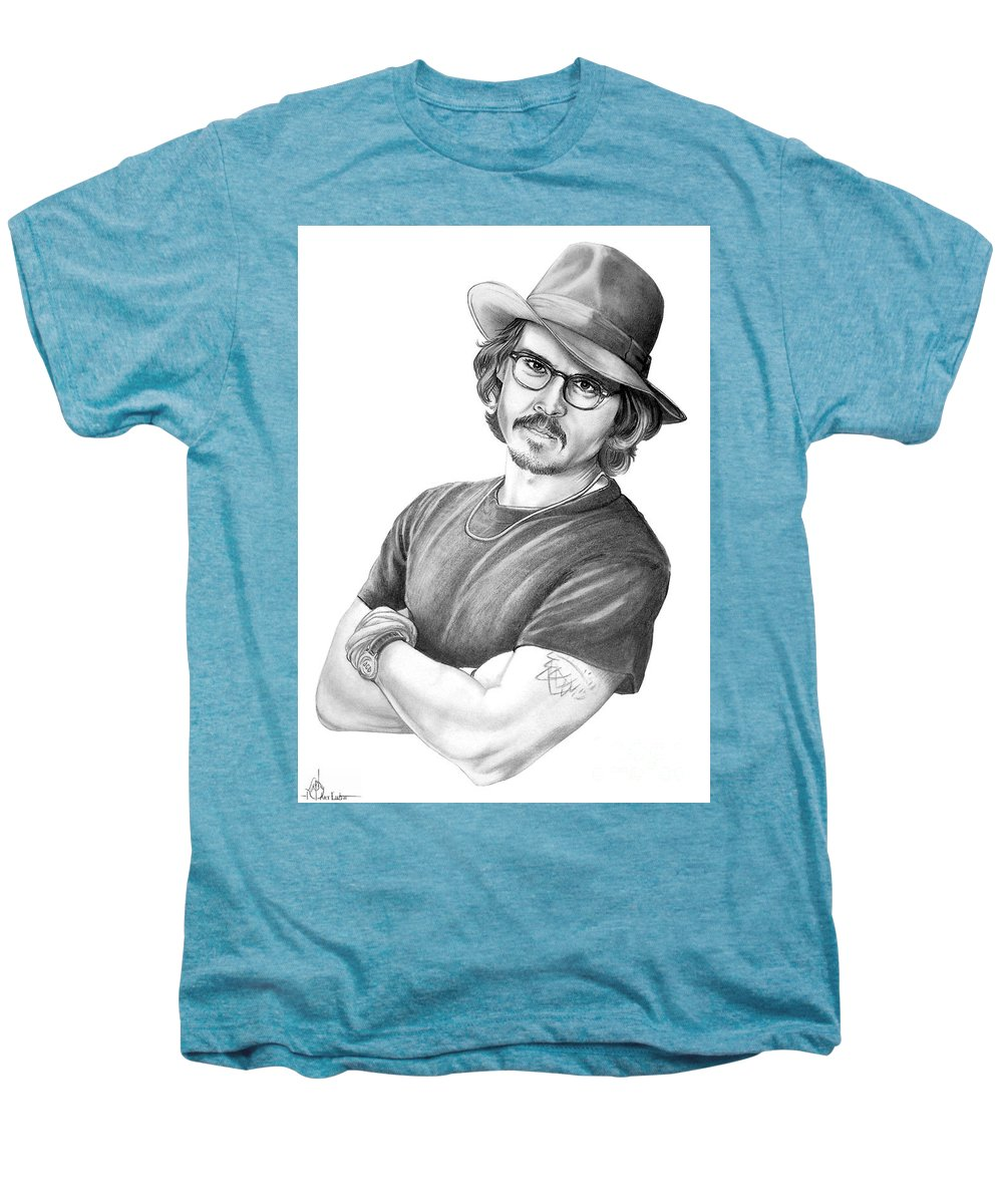 Johnny Depp Men's Premium T-Shirt featuring the drawing Johnny Depp by Murphy Elliott