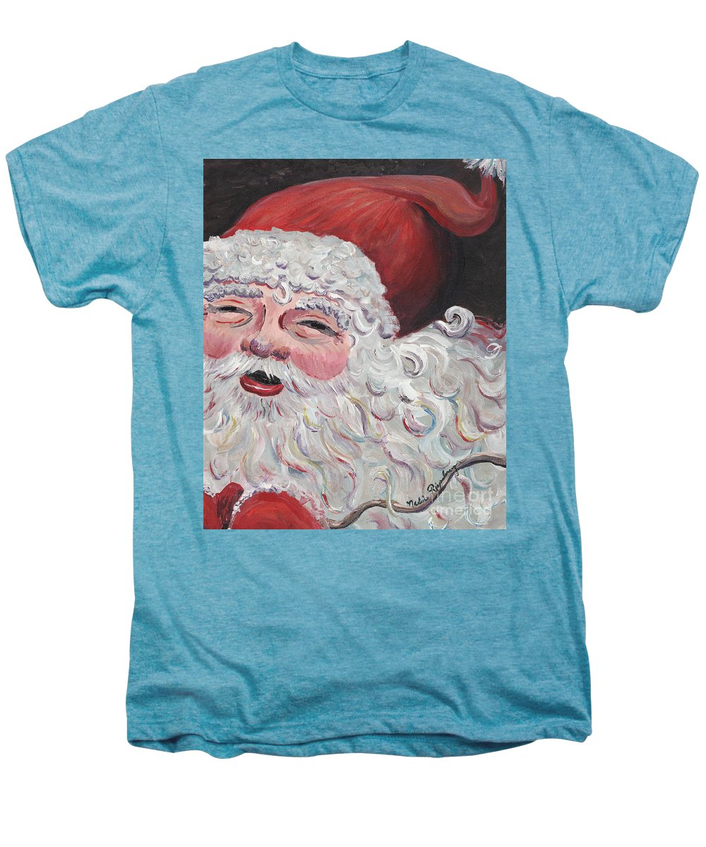 Santa Men's Premium T-Shirt featuring the painting Jolly Santa by Nadine Rippelmeyer
