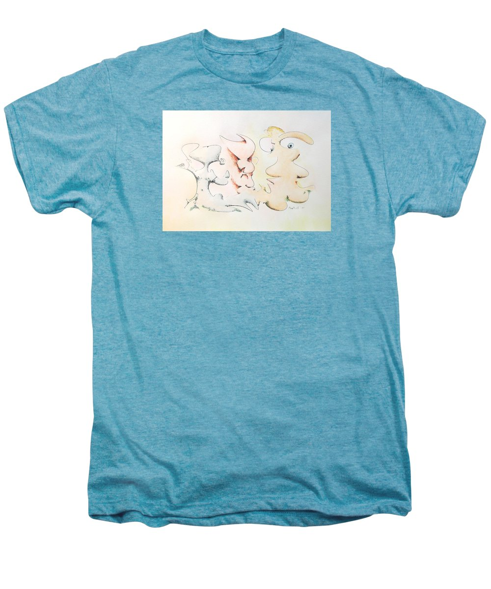 Watercolor Men's Premium T-Shirt featuring the painting Judging Picasso by Dave Martsolf