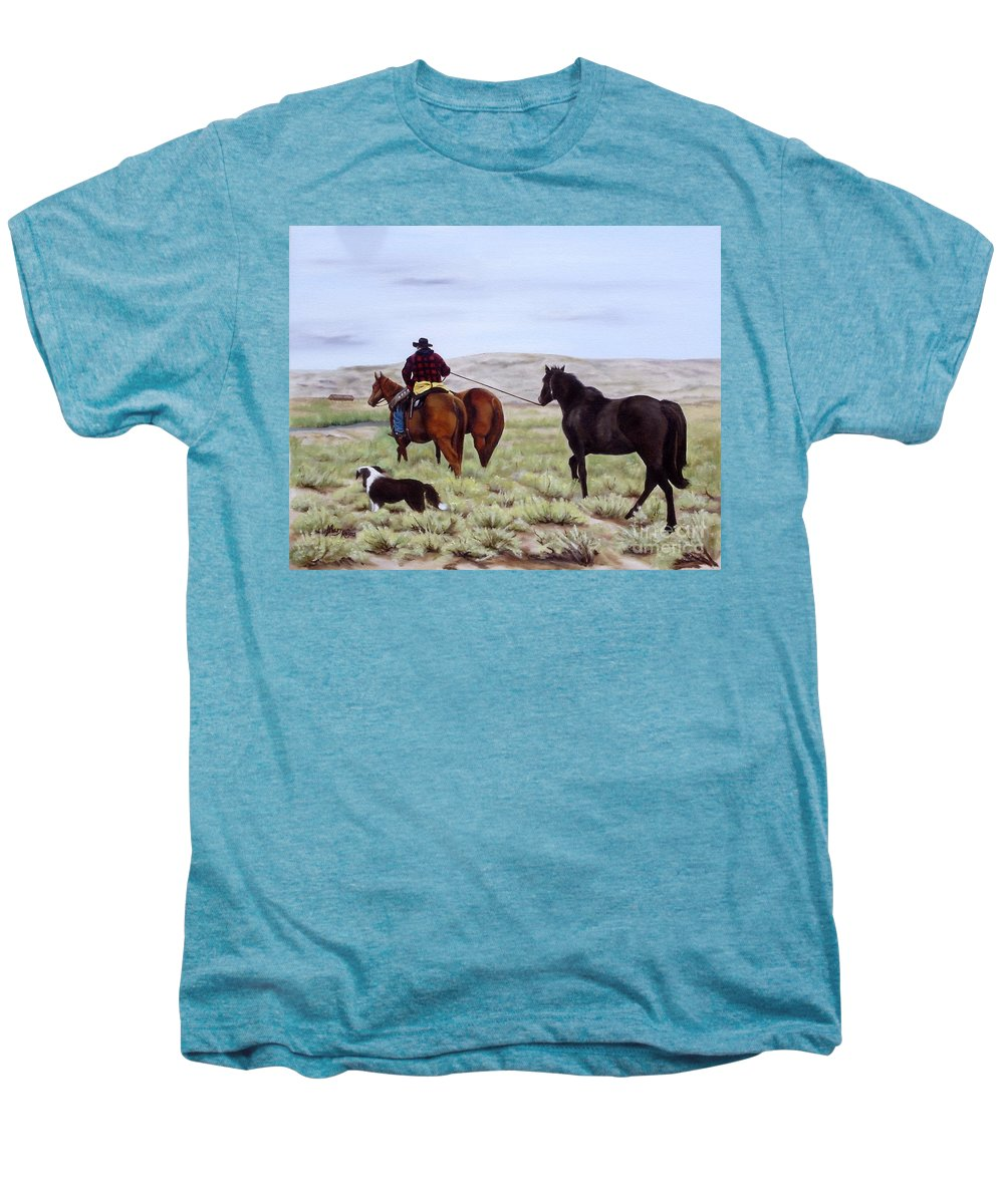 Art Men's Premium T-Shirt featuring the painting Just Might Rain by Mary Rogers