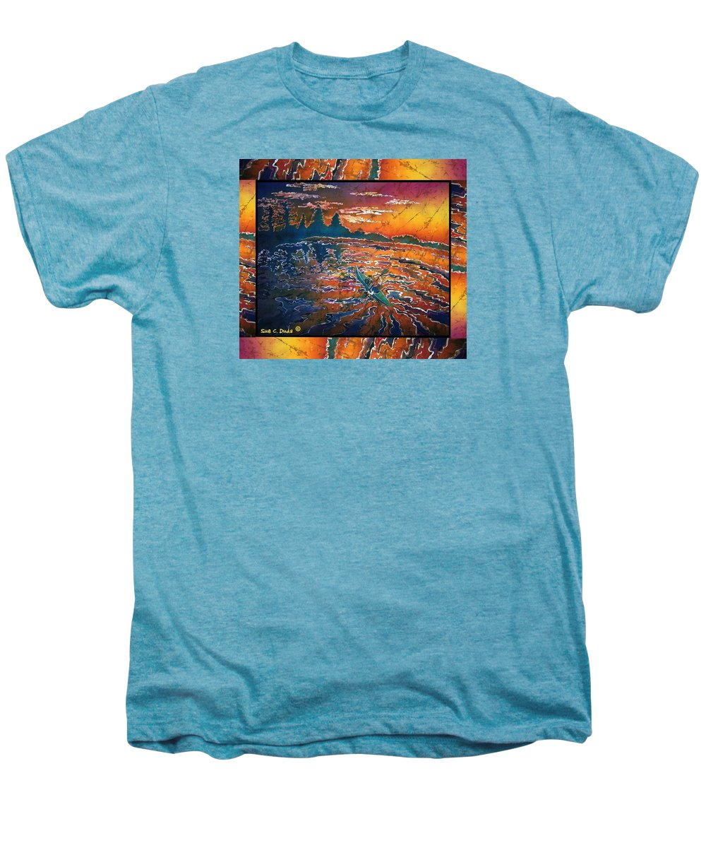 Kayak Men's Premium T-Shirt featuring the painting Kayaking Serenity - Bordered by Sue Duda