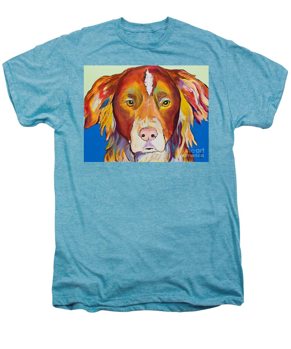 Australian Border Collie Men's Premium T-Shirt featuring the painting Keef by Pat Saunders-White